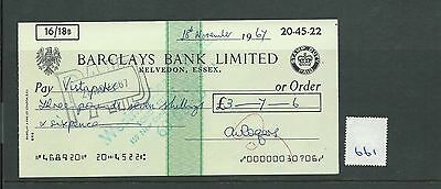 wbc. - CHEQUE - CH661  USED -1967- BARCLAYS, KELVEDON
