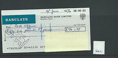 wbc. - CHEQUE - CH662  USED -1976- BARCLAYS, KELVEDON