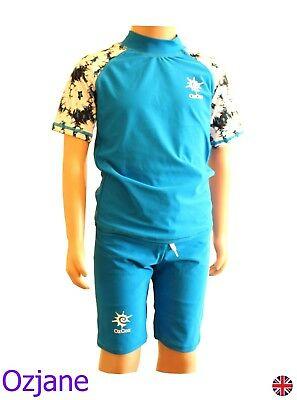 Boys Ozcoz Uv Upv 50+ Sun Protection Suit Blue 6 To 14 Yr Swimming Costume