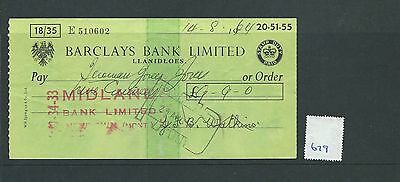 wbc. - CHEQUE - CH679 -  USED -1964 - BARCLAYS, LLANIDLOES