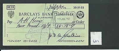 wbc. - CHEQUE - CH681 -  USED -1967 - BARCLAYS, LLANIDLOES