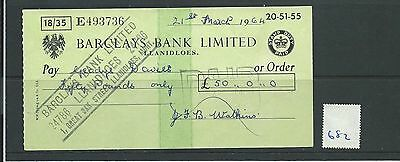 wbc. - CHEQUE - CH682 -  USED -1964 - BARCLAYS, LLANIDLOES