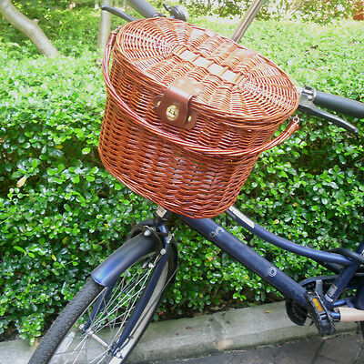 Rural Style Brown Willow Wicker Basket Hooked on Bicycle Front with Lid Handle