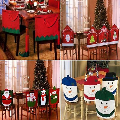 4 X Christmas Theme Chair Hat Back Covers Xmas Dinner Party Table Decoration Set