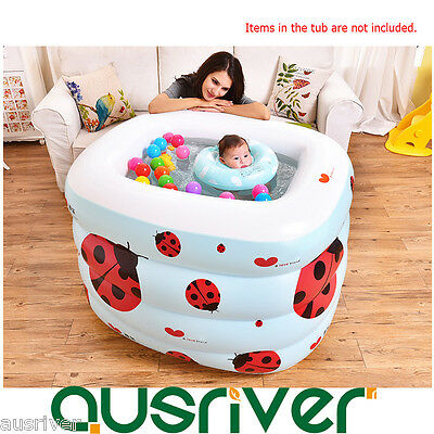 4-Ring Inflatable Bath Tub Swimming Pool Baby Kids Toddler Fun Adjustable Height