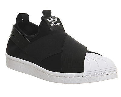 Mens Adidas Superstar Slip On CORE BLACK WHITE  Trainers Shoes