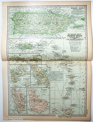 Original 1902 Map of Porto Rico & The Lesser Antilles - A Nicely Detailed Litho