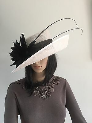 Failsworth White And Black Wedding Hat Formal Occasion Mother Of The Bride