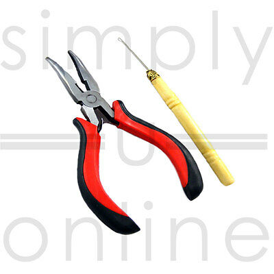 Hair Extension Pliers & Pulling Hook Tool for Silicone Micro Rings Beads Loop