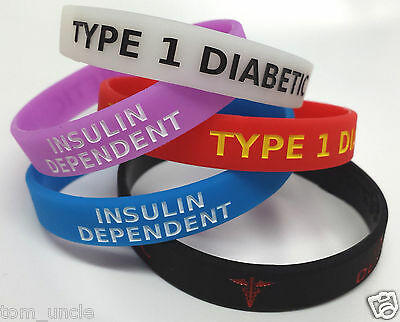 5x TYPE 1 DIABETIC Insulin Dependent diabetes Wristband MEDICAL ALERT BRACELET