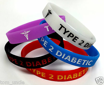 5x TYPE 2 DIABETIC diabetes Wristband MEDICAL ALERT BRACELET - glow in the dark