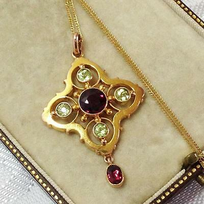 Antique 9ct GOLD Murrle Bennett Fine Natural Garnet Peridot Seed Pearl Necklace