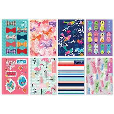 Small Pocket Week To View (On 2 Pages) Padded Cover Full Year Diary Planner 2017