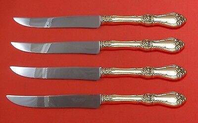 Royal Rose by Wallace Sterling Silver Steak Knife Set 4pc Texas Sized Custom