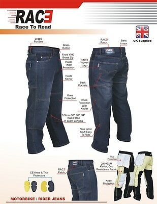 Original RAC3 Mens Motorbike Protective Armoured Lining Denim Jeans Trousers