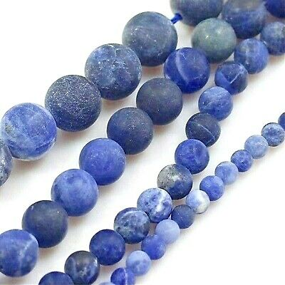 "Natural Smooth Blue Sodalite Matte Round Beads Spacer 15"" 4mm 6mm 8mm 10mm"