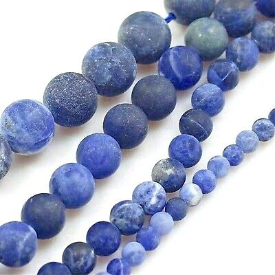 "Natural Smooth Blue Sodalite Matte Round Spacer Beads 15"" 4 6 8 10mm Free Ship"