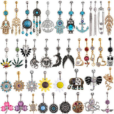 Belly Bar Crystal Dangle Reverse Body Piercing Jewellery Rings Navel Belly Bars