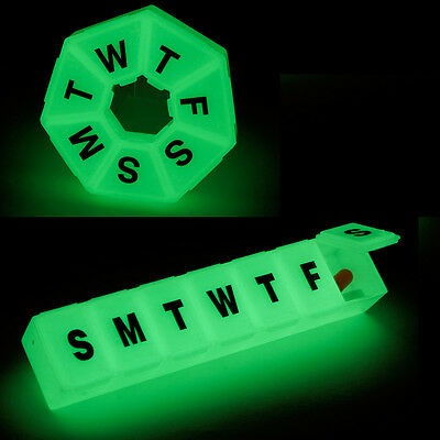 Glow-in-the-Dark Weekly Pill Boxes (Straight Large and 7 Sided Medium) 2 Pack
