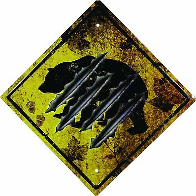 "BEAR Crossing Tin Road Sign Embossed Durable Steel New 16"" Long 11.5"" Sq Claws"