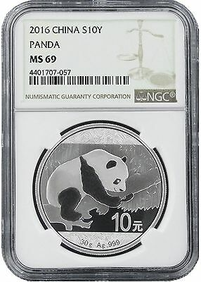 2016 China 10 Yuan Silver Panda NGC MS69 - Brown Label