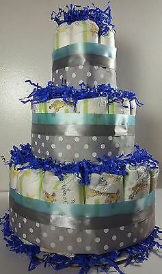 3 Tier Diaper Cake - Blue and Silver Polka Dot - Shower Centerpiece