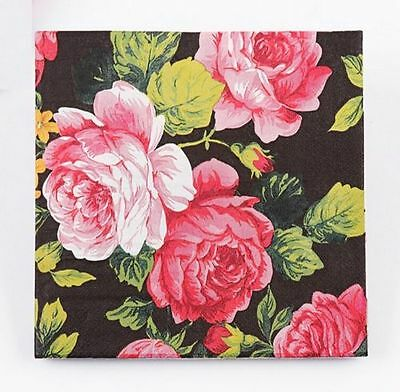 FD3023 Wedding Birthday Party Rose Floral Paper Napkins 33X33CM 1 Pack 20 PC