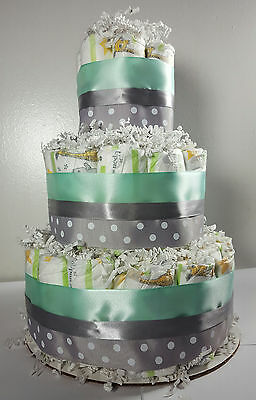 3 Tier Diaper Cake - Mint and Silver Polka Dot - Shower Centerpiece