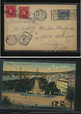 Italy  post  card to US  1922  US postage due stamps          AT0506
