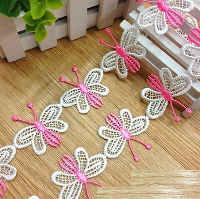 FD3066 Pink Butterfly Embroidered Lace Sewing Trim DIY Craft Appliques 1 Yard