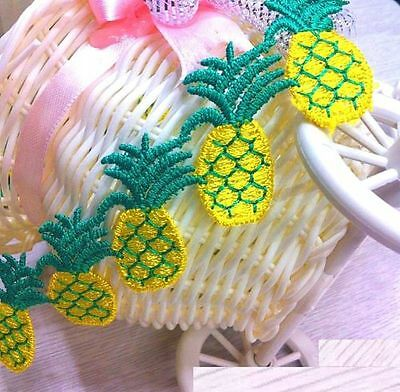 FD3073 Embroidered Cute Pineapple Mesh Applique Pearl Core Lace Trim DIY 1 Yard