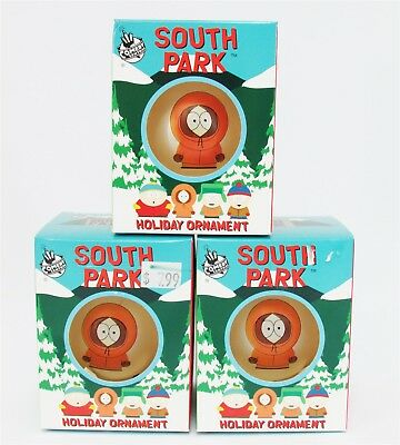 Lot of 3 South Park Kenny Alive Glass Ornament Ball Holiday xmas Tree Rare Colle