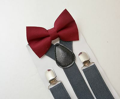 Kids Boys Charcoal Gray Suspenders & Burgundy red Bow tie SET Infant - ADULT