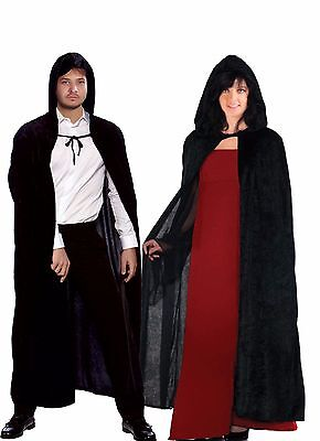 UNISEX Hooded Cloak Carded Black Velvet Vampire Devil Cape Halloween Fancy Dress