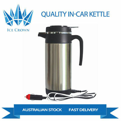 12V Portable In-Car Stainless Steel Kettle 1200ml Camping Travel Top Quality