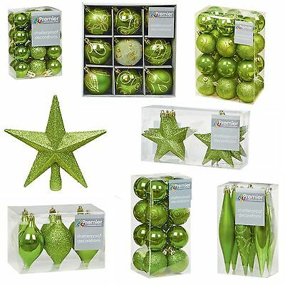 A GREEN Collection Christmas Decorations Baubles Stars Cones Hearts Tree Topper