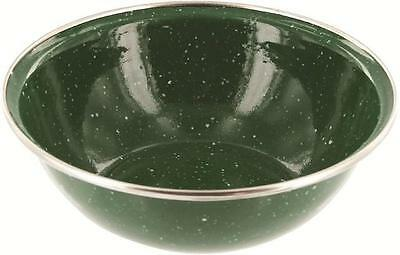 Retro Vintage Camping Style New Green 15.5cm Wide Easy Clean Deluxe Enamel Bowl