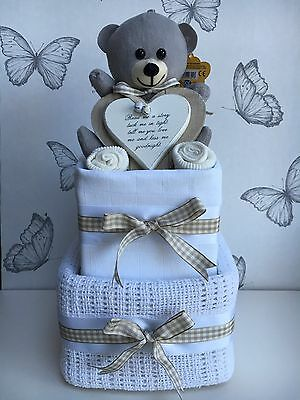 Deluxe 2 Tier Neutral Nappy Cake Baby Shower Gift New Baby Gift Maternity Gift