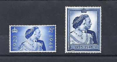 GB 1948 George VI SILVER WEDDIN Stamps set 2v SG493-494 Unmounted Mint REF:SW10
