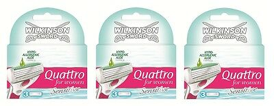New Genuine Wilkinson Sword Quattro For Women Razor Blades - 9 Pack Refill