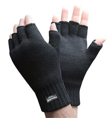 Mens 3M Thinsulate 40gram Thermal Insulated Thin Black Knitted Fingerless Gloves