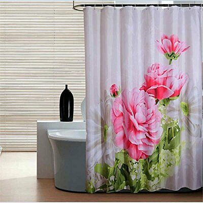 AIMENTE Shower Curtain Polyester Bathroom Waterproof decor 180x200cm with hooks