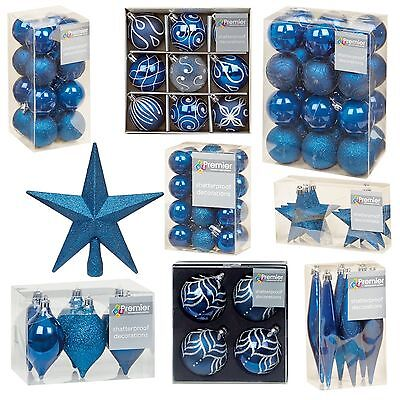 M Blue Collection Christmas Decorations Baubles Stars Cones Hearts Tree Topper