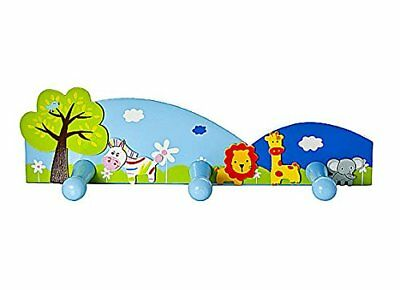 Jungle Safari Themed Childrens Triple Coat Hook Wall Hooks for Door or Wall in