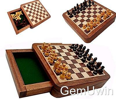 Magnetic Chess Set w/ Drawer Rosewood Box Travel Size Camping Board Game 13.5cm