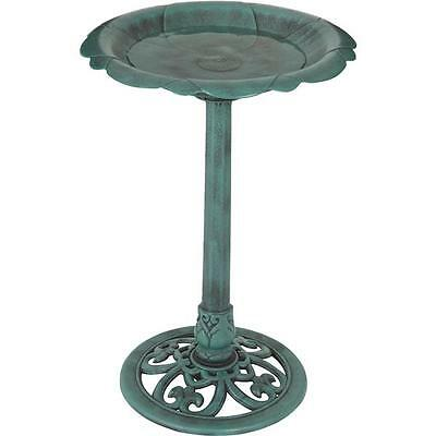 28-INCH Best Garden Flower Pedestal Bird Bath in Antique Verdigris (Green)