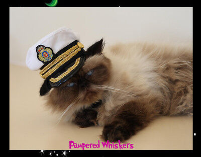 Commanding Officer miniature naval hat for dogs and cats