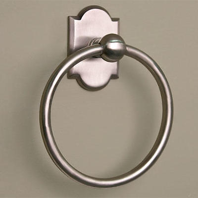 Signature Hardware Solid Brass Towel Ring with Decorative Base in Brushed Nickel