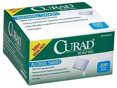 Curad Antiseptic Wipes Alcohol Swabs - 200 Count
