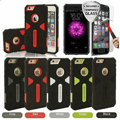 Shockproof Hybrid Case + Tempered Glass Screen Protector for iPhone 6 6s 7 Plus